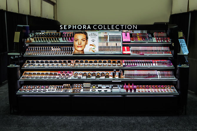 Sephora's two sided 9ft fixture unit