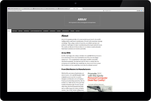 Array's AODA-Compliant Website, click on the image to go to that website